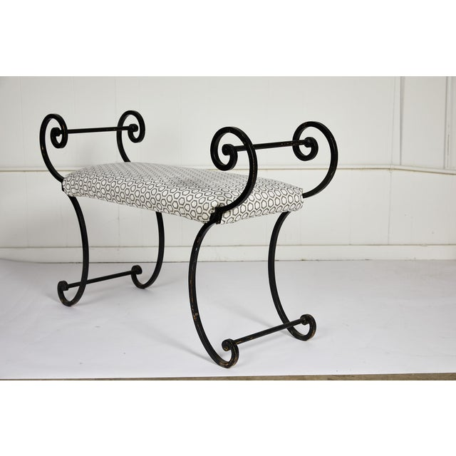 Hollywood Regency Hollywood Regency Scrolling Iron Bench in Jim Thompson Fabric For Sale - Image 3 of 12