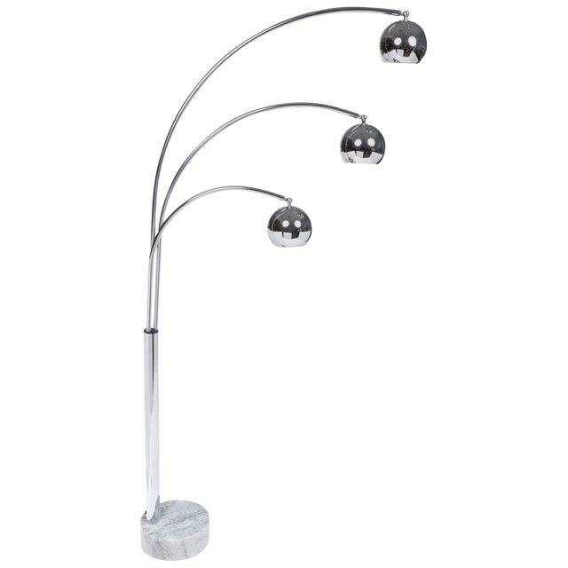 Guzzini Mid-Century Chrome Arc Floor Lamp For Sale