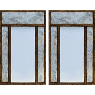 Vintage Wood Carved Faux Bamboo Gilt Tortoiseshell Wall Mirrors With Antique Glass Finish- a Pair For Sale