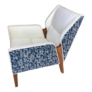 Douglas Levine Jett Upholstered Walnut Arm Chair For Sale