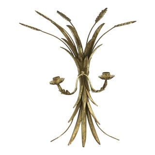 Vintage Italian Gilded Brass Metal Wheat Sheaf Torch Wall Sconce For Sale