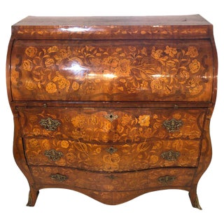18th-19th Century Bombay Dutch Marquetry Cylinder Desk For Sale