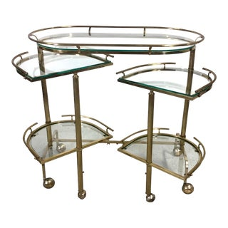 Vintage Hollywood Regency Brass 3-Tier Bar Cart For Sale