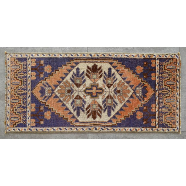 1970s Hand Knotted Door Mat, Entryway Rug, Bath Mat, Kitchen Decor, Small Rug, Oushak Rug For Sale - Image 5 of 5