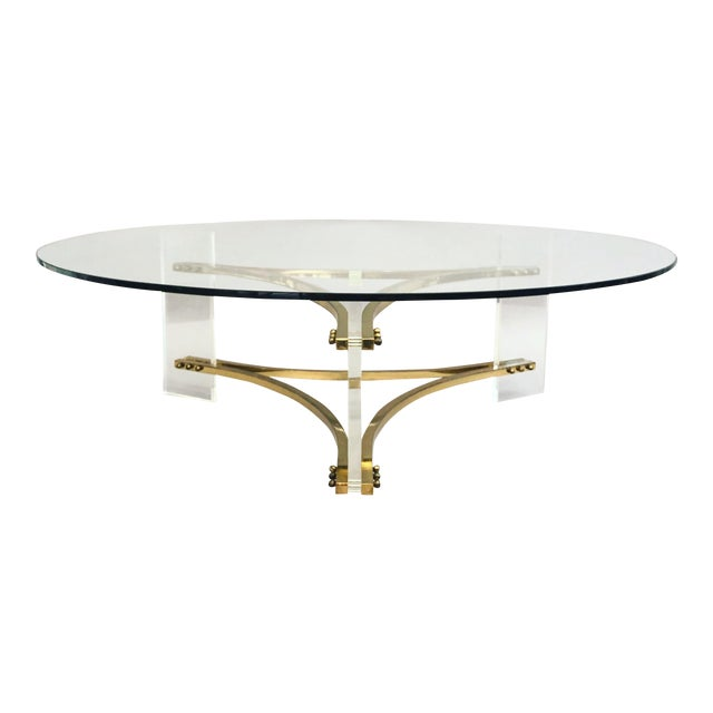 Charles Hollis Jones Brass, Glass, and Lucite Coffee Table For Sale