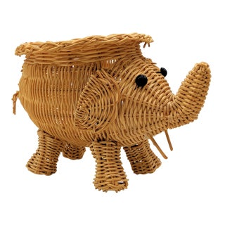 Vintage Boho Chic Wicker Elephant Planter For Sale