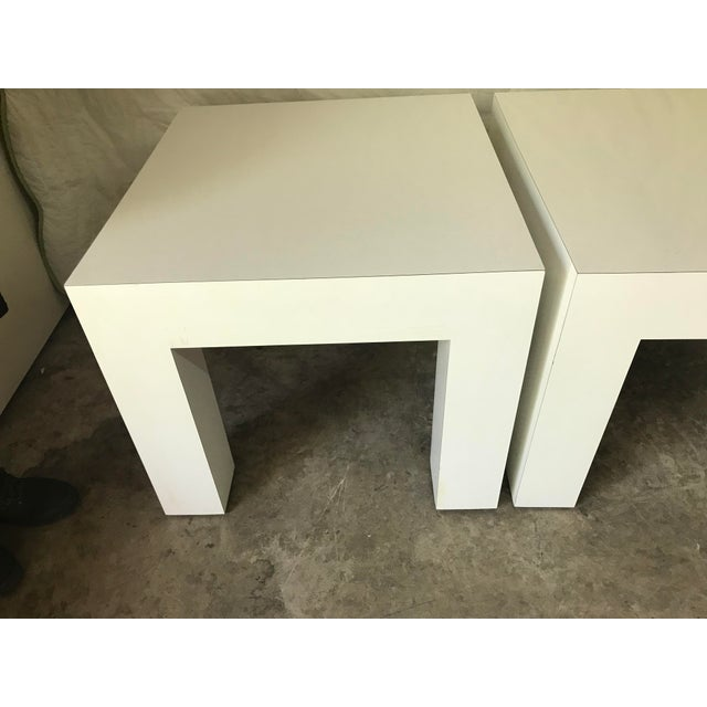 Vintage Mod White Laminate Parsons Tables - a Pair - Image 4 of 5