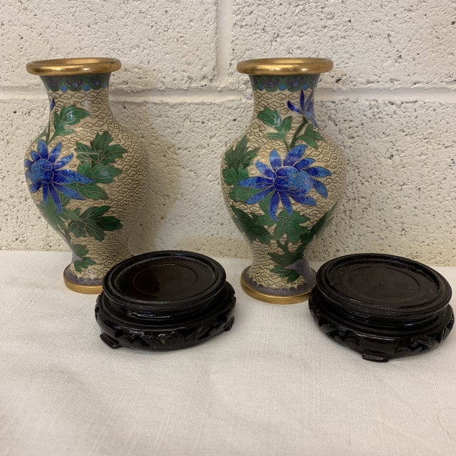 Blue Vintage Chinese Cloisonné Vases -A Pair For Sale - Image 8 of 13