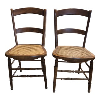 "Caned Side Chairs -""Little Cow"" Kuchin Style -A Pair"