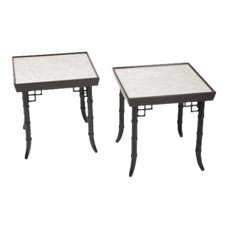 Ebonized Faux Bamboo Tables circa 1950 - a Pair For Sale