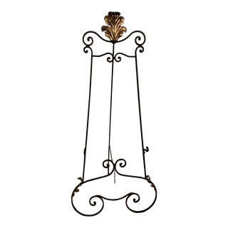 Wrought Iron Floor Length Easel With Gold Leaf For Sale