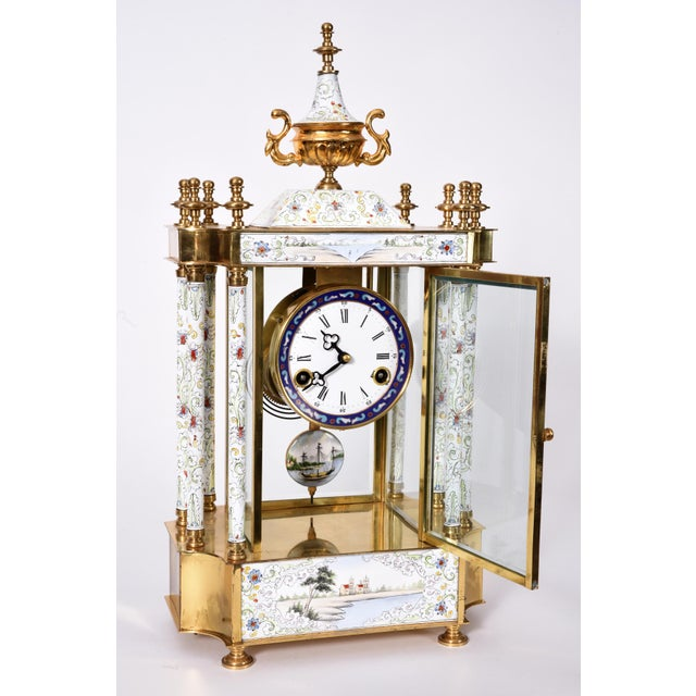 Mid 20th Century Mid-20th Century Brass Frame Mantel Clock For Sale - Image 5 of 12