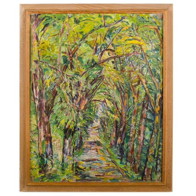 """Mid 20th Century """"Allee"""" Expressionist Style Forest Landscape Oil Painting by Elisabeth Merlicek, Framed For Sale - Image 13 of 13"""