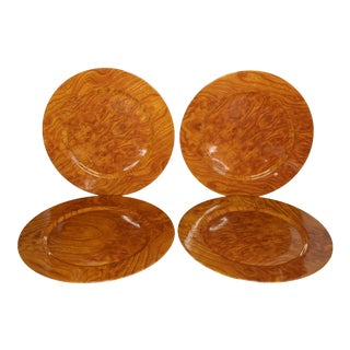 Faux Burlwood Charger Plates - Set of 4 For Sale