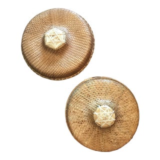 Vintage Chinese Rice Paddy Woven Wicker Coolie Hats - a Pair For Sale