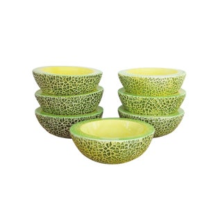 1950s Vintage Melon Majolica Bowls - Set of 7