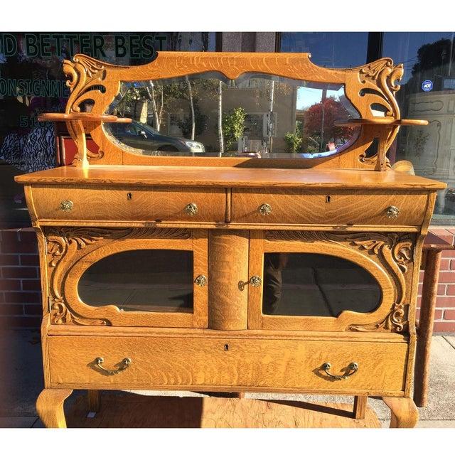 Victorian Oak Sideboard Server With Carved Griffins - Image 3 of 9