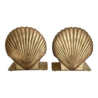 Mid-Century Vintage Shell Brass Bookends - a Pair For Sale