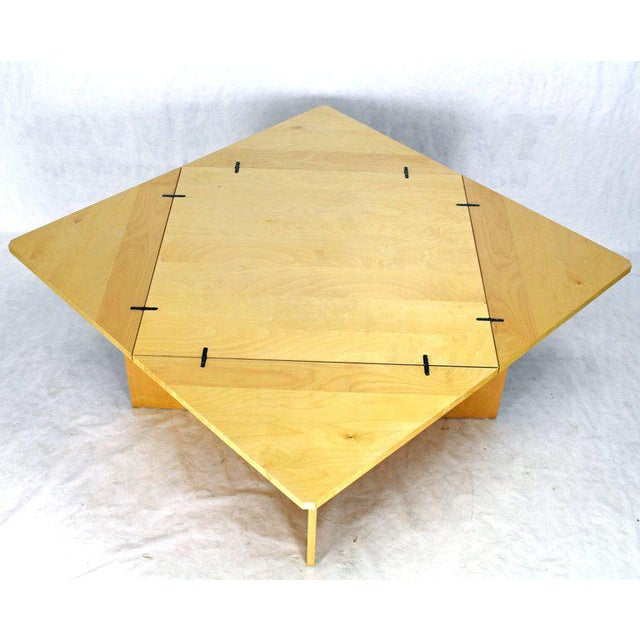 Mid-Century Modern Folding Convertible Two Sizes Birch Square Conference Dining Table X-Base For Sale - Image 4 of 7
