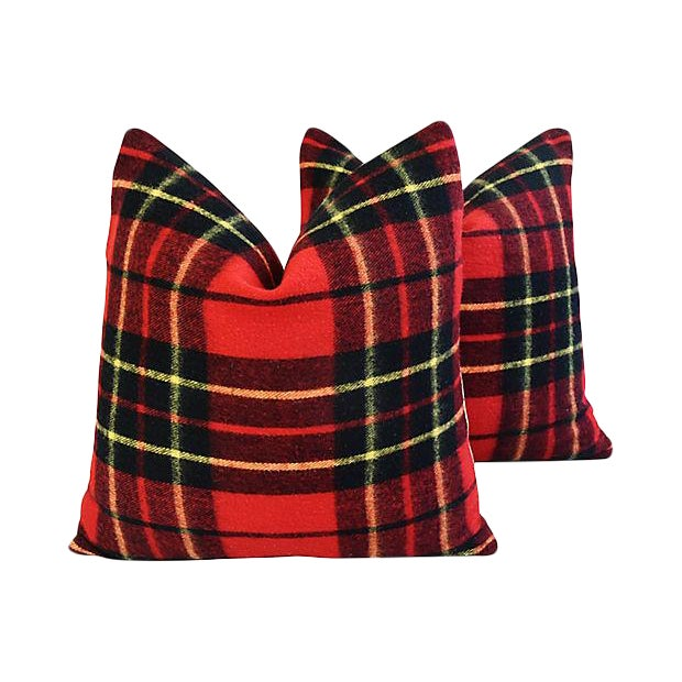 "Scottish Tartan Plaid Wool Feather/Down Pillows 24"" Square - Pair For Sale - Image 10 of 10"