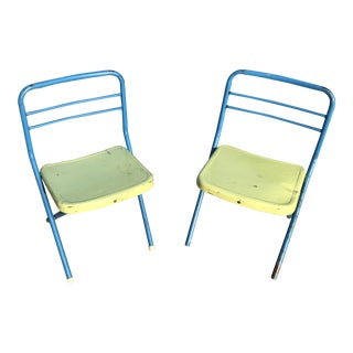Vintage Children's Metal Folding Chairs - a Pair