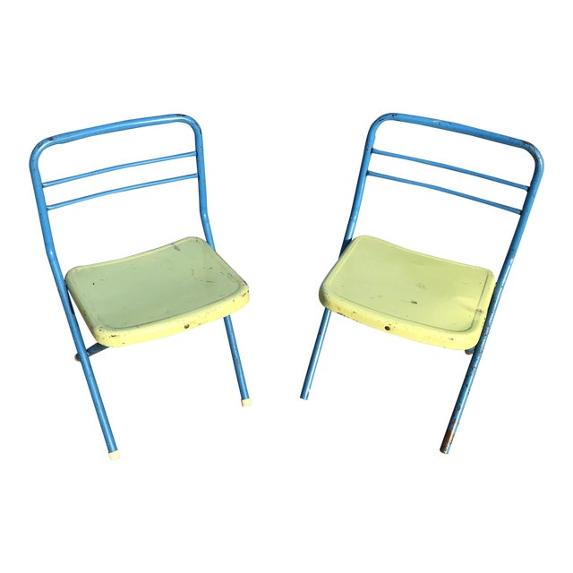 Vintage Children's Metal Folding Chairs - a Pair For Sale