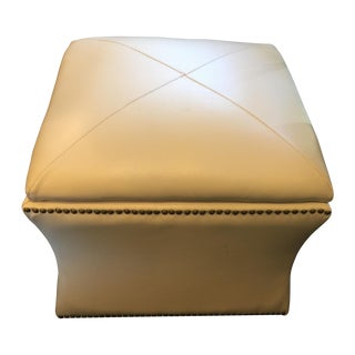 Cream Colored Leather Storage Ottoman For Sale