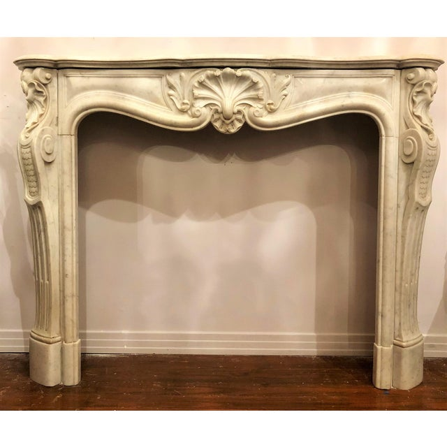 Antique French Louis XV Carrara Marble Fireplace Mantel, Circa 1860. For Sale - Image 4 of 4
