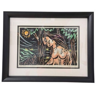 """Mid Century Woodblock Print """"The Bather"""" by L. J. Miller For Sale"""