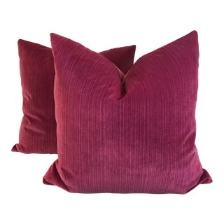 "22"" Fuschia Stripe Velvet Pillows - a Pair"