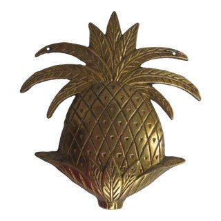 Vintage Brass Pineapple Wall Hanging For Sale