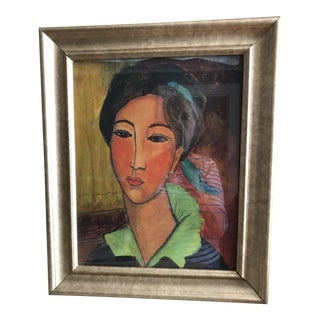 Late 20th Century Pencil and Acrylic Portrait of a Woman Painting For Sale
