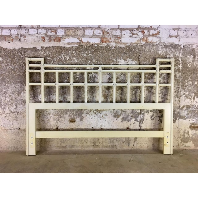 Chippendale 1970's Vintage Ficks Reed Rattan Queen Headboard For Sale - Image 3 of 3