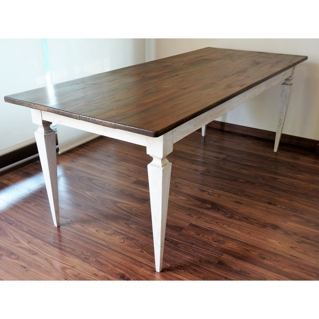 20th French Painted Dining Farm table Shabby Chic Table Completely restored36