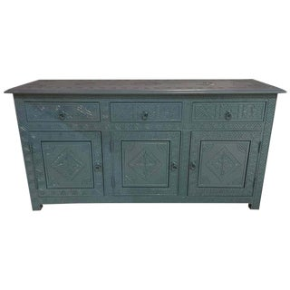 Celeste Blue Modern Moroccan Hand Carved Three-Drawer Console or Dresser For Sale