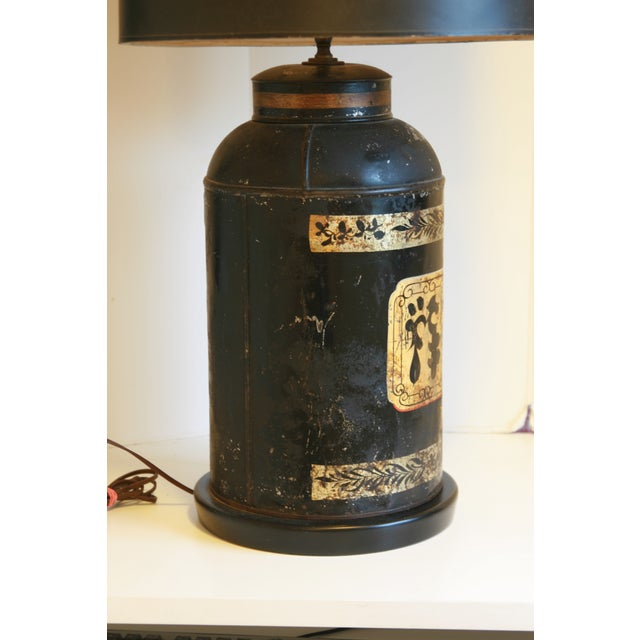 Metal Late 19th Century Antique Chinoiserie Metal Tea Canister Lamps - A Pair For Sale - Image 7 of 13