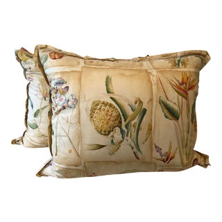 Clarence House Botanical Fabric Rectangular Pillows - a Pair For Sale