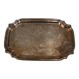 Vintage Ornate Silverplate Tray For Sale