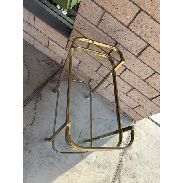 1970s 1970s Milo Baughman For DIA Rolling Brass Bar Cart For Sale - Image 5 of 7