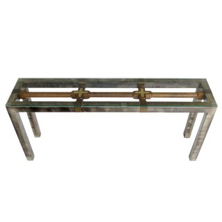 Reclaimed Wood & Industrial Steel Console Table For Sale