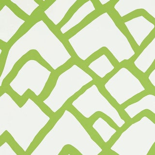 Sample - Schumacher Zimba Geometric Stripe Wallpaper in Lawn Green For Sale