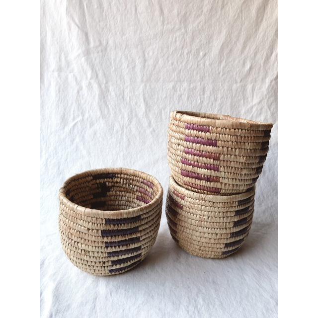Purple Vintage Tribal Grass Baskets - Set of 3 For Sale - Image 8 of 8