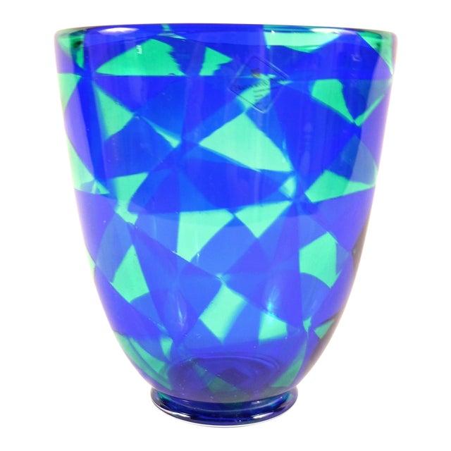 Barovier & Toso Blue Mosaic Triangle Murano Venezia Glass Vase For Sale