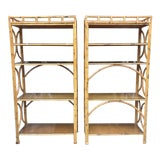 Image of 1970s Vintage Wood Bamboo Matching Bookcases-a Pair For Sale