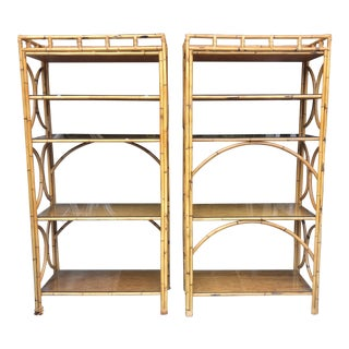 1970s Vintage Wood Bamboo Matching Bookcases-a Pair For Sale