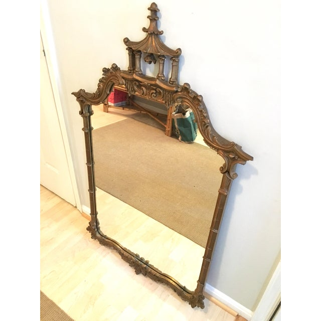 1950s Vintage LaBarge Style Chinoiserie Chippendale Pagoda Bell Mirror For Sale - Image 5 of 11