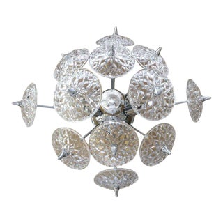 Val Saint Lambert Crystal and Chrome Sputnik Wall or Flush Mount For Sale