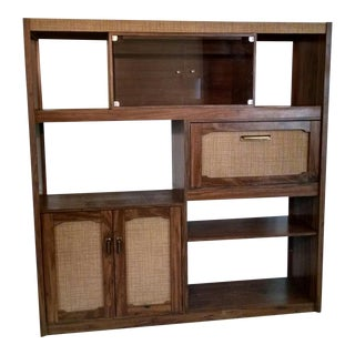 Mid-Century Modern Walnut Veneer Wall Unit Cabinet