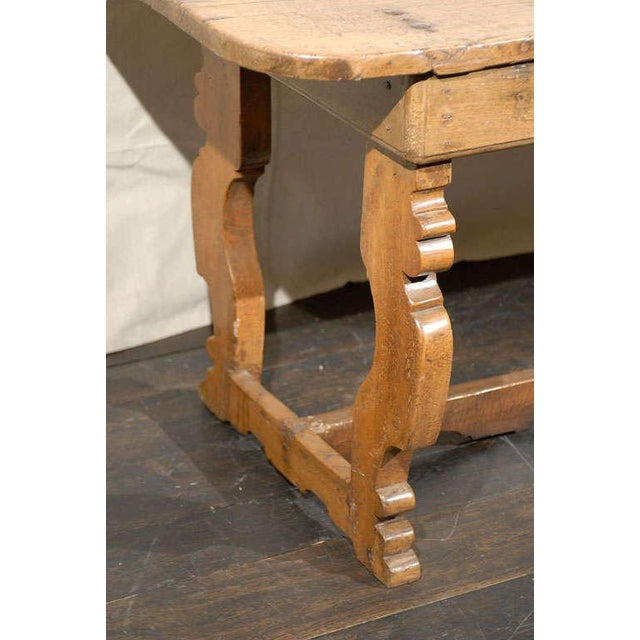 Brown Italian 18th Century Trestle Farm Table With Lyre Shaped Legs For Sale - Image 8 of 10