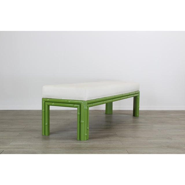 Textile Mid-Century Apple Green Faux Bamboo Bench With Linen Cushion, Green Bamboo Bench, Cream Linen Bench For Sale - Image 7 of 8